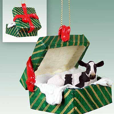 Holstein Cow Gift Box Christmas Ornament - -