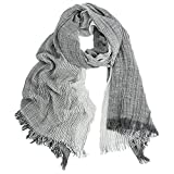 Kalevel Large Scarf Shawl Wrap Cotton Shawls and Wraps with Fringe - Dark Grey