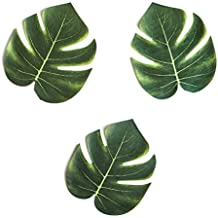 "Tropical Imitation Plant Leaves 8"" Hawaiian Luau Party Jungle Beach Theme Decorations for Birthdays, Prom, Events (12 Pack)"