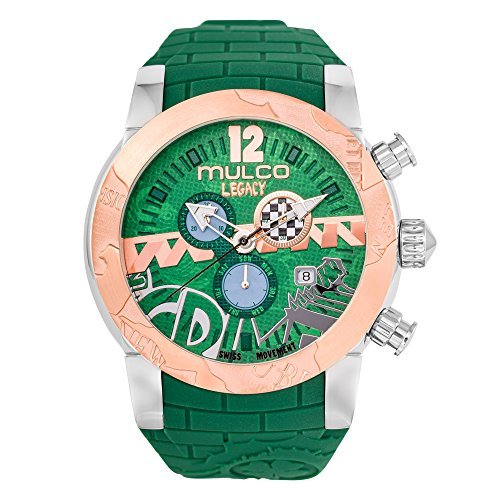 Accent Watch Green (MULCO Legacy Street Art Quartz Swiss Chronograph Movement Women's Watch | Premium Sundial Display with Rose Gold Sport Accents | Green Watch Band | Water Resistan MW5-3701-473)