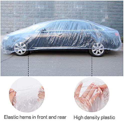 Bestauto 10pcs Universal Disposable Car Cover Clear Plastic Temporary 22 x 12
