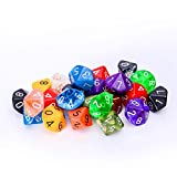 25 Count Assorted Pack of 10 Sided Dice - Multi Colored Assortment of D10 Polyhedral Dice
