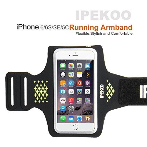 IPhone 6 / 6 Plus Armband, IPEKOO Sports Armband for Apple iPhone 6s Plus / 6 Plus/ 6, Sports Running Exercise Workout Gym Sportband with Key Holder & Card Slot
