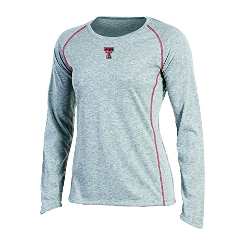 NCAA Champion Women's Long sleeve Crew Neck Raglan T-Shirt, Texas Tech Red Raiders, X-Large, Gray Heather
