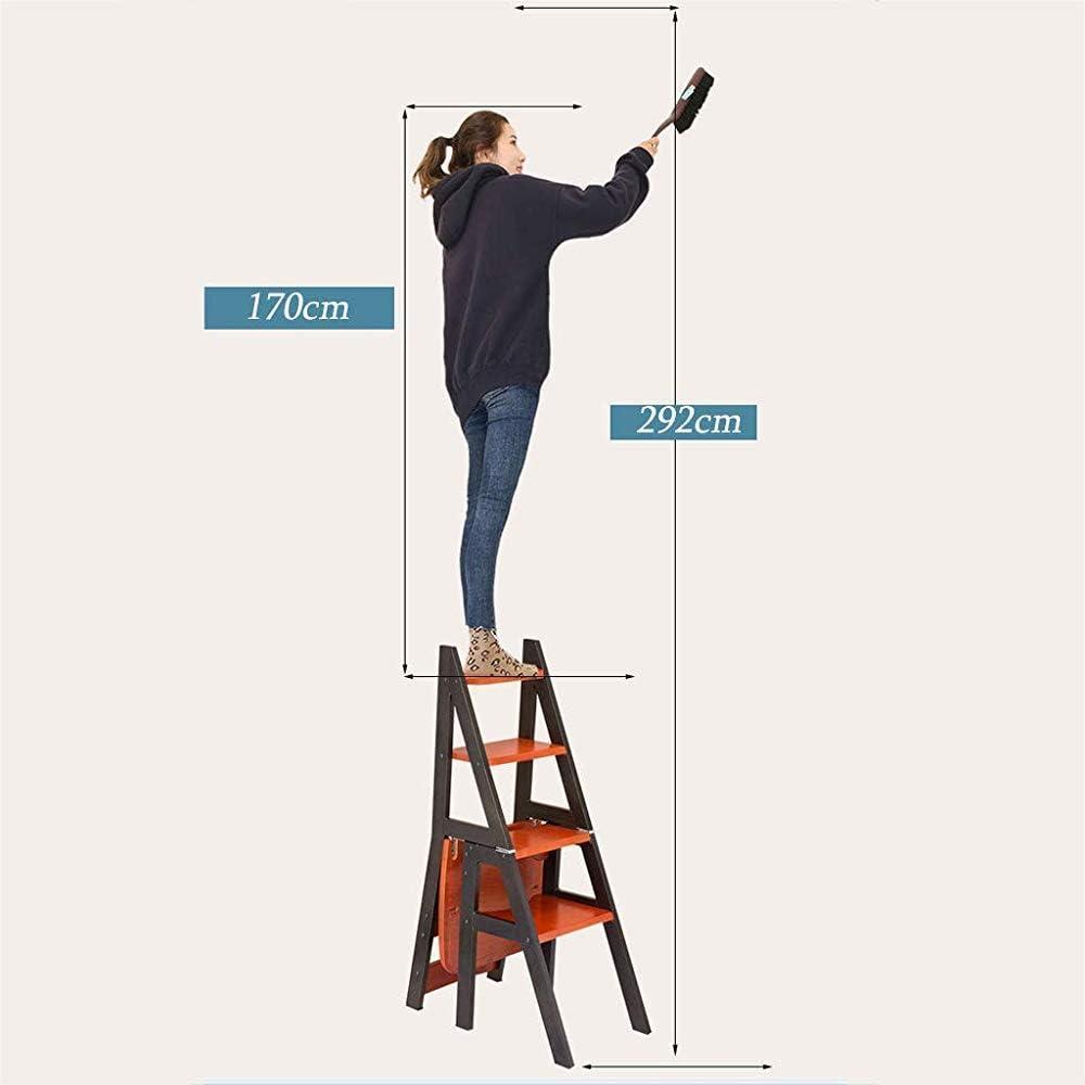 in grado di sopportare 150 kg di peso,Red orange Sedia multifunzionale libreria Ladder poggiapiedi in legno massiccio mobili pieghevoli del basamento stand Scala bagagli Fiore