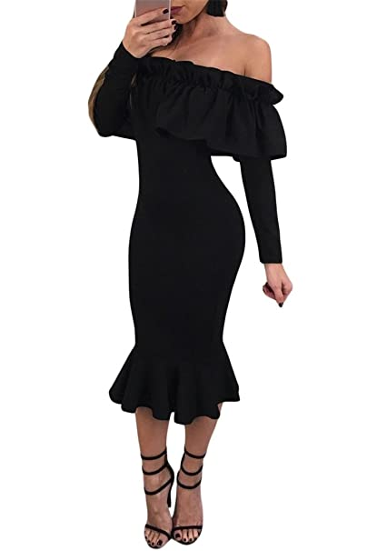 83b5e3fc450 Women s Sexy Long Sleeve Ruffle Off Shoulder Bodycon Midi Mermaid Party  Dress Black XL