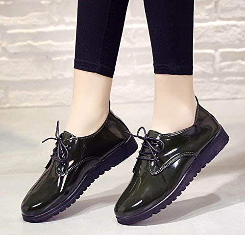 Comfy Toe Shoes Aisun Up Green Sneakers Lace Women's Round Axqqt51