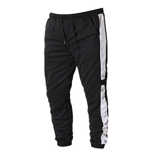 ACEBABY Tira Blanca para Hombres Pantalones de chándal Pantalones ...