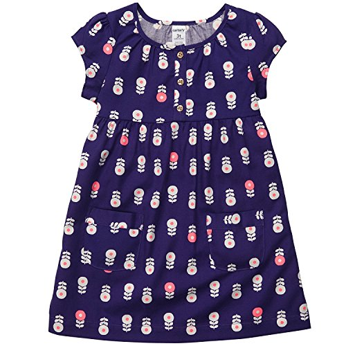 Carter's Girls Twill Cap Sleeve Dress (6, Youth, Purple)