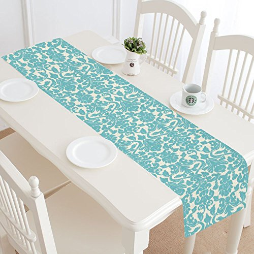 InterestPrint Teal Damask Floral Table Runner Linen & Cotton