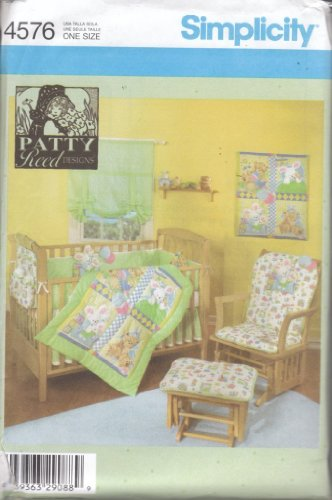 Simplicity 4576 sewing pattern makes Nursery Bedding chair cover crib bedding shade, more OOP