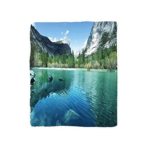 VROSELV Custom Blanket Country Collection Mirror Lake in Yosemite Scenic Picture with Mountains Lakeside Trees Waterscape Soft Fleece Throw Blanket Turquoise Blue by VROSELV