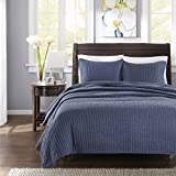 Madison Park Keaton Twin/Twin XL Size Quilt Bedding Set - Navy, Quilted – 2 Piece Bedding Quilt Coverlets – Ultra Soft Microfiber Bed Quilts Quilted Coverlet