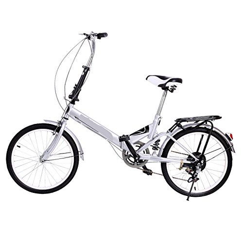 Utheing 20inch Wheel Folding Bike 6 Speed Mountain Bicycle Cycling Steel Frame Double Disk, Silver by Utheing