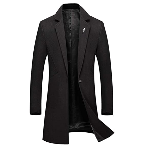a4e873f42da3 Image Unavailable. Image not available for. Colour  Men s Wool Trench Coat  Long Casual Jacket Fashion Slim Fit ...