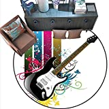 Bass Drum Coffee Table Guitar Circle Rugs Bass Guitar on Colorful Vertical Stripes with Floral Natural Artistic Ornaments Living Dining Room Bedroom Hallway Office Carpet (6'6