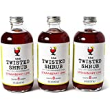 The Twisted Shrub - STRAWBERRY LIME (Pack of 3) - Apple Cider Vinegar drink mixer for healthier beverages