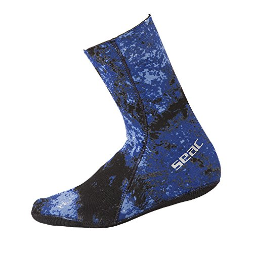 SEAC 3.5mm Anti-Slip Camo Scuba Diving Spearfishing Socks, Blue/Camouflage, X-Large