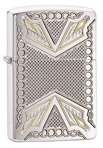 - Zippo Armor Arrowhead Design Pocket Lighter, Brushed Chrome