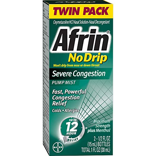 Afrin No Drip Severe Congestion Pump Nasal Mist Twin Pack, 0.50 Fluid Ounce (Best For Nasal Congestion)