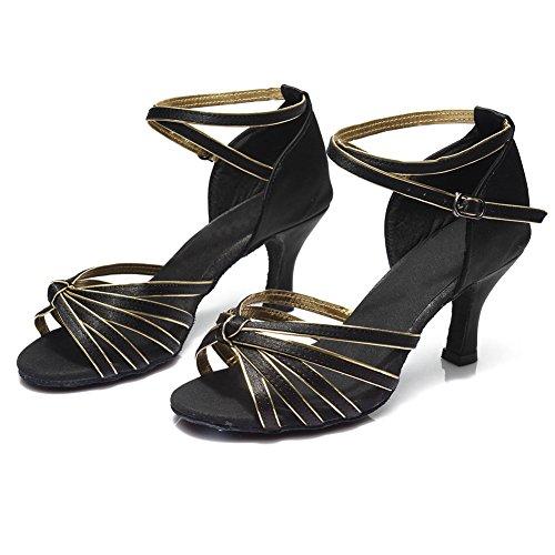 7cm Model 217 Roymall Latin gold Women's Dance Shoes Black Satin UX00PZFY