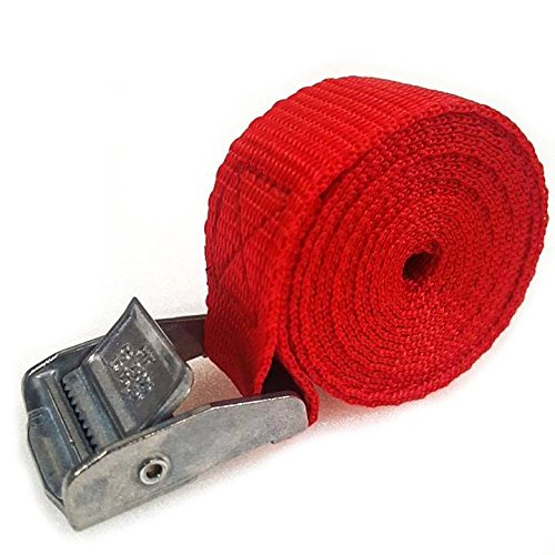 1 x Lifting straps cam buckle 500mm x 25mm Red 250kg Cargo luggage roof rack strap
