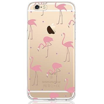 DAPP Funda iPhone 6 / 6S Serie Dolce Vita Carcasa Transparente Silicona para Mujer/Chica con diseño de flamencos Rosado roja Rosa