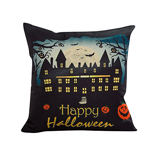 Halloween Fashion Linen Home Decor Bat Castle Cafe KIKOY Pillowcase Cushion Cover (A) -