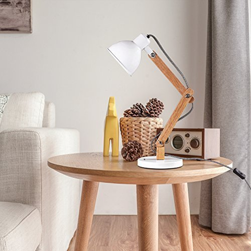 MUTUW Wooden Swing Arm Desk Lamp, e26/e27 LED Bulb Lamp, 40W, Metal & Wooden, Perfect for Reading Study Work Office - White by MUTUW (Image #6)