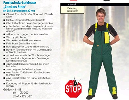 Schnittschutzlatzhose Zecken Stop Schnittschutzhose Klasse 1 leicht deutscher Hersteller Gr. 60
