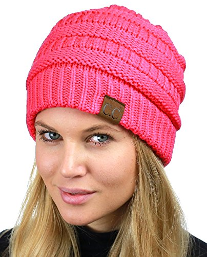 C.C Unisex Chunky Soft Stretch Cable Knit Warm Fuzzy Lined Skully Beanie, Candy Pink