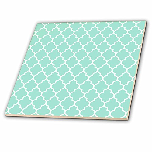 3dRose ct_120256_4 Mint Quatrefoil Pattern Light Teal Turquoise Moroccan Tiles Pastel Aqua Blue Clover Lattice Ceramic Tile, 12-Inch (Tile Pattern Coaster)