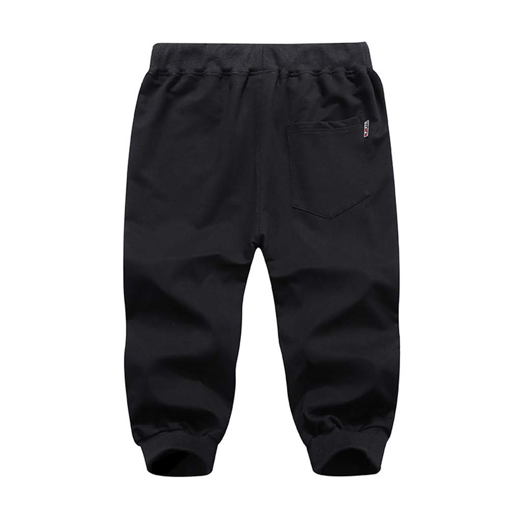 Zoilmxmen Mens Summer Casual Pants Pure Color Comfort Sports Beach Calf-Length Pants
