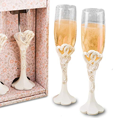 Fashioncraft Vintage Heart Design Toasting Glass Flute Set, One Size, Ivory]()