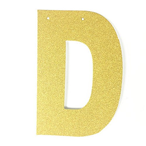 Single Glitter Gold Paper Letter For DIY Hanging Banners Garlands Bunting Birthday Party Wedding Christmas Backdrop Decorations D