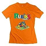 Custom Melting 3-D Rubiks Cube Mirror Women's Tshirt Orange Size XXL