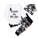Deloito Boys Clothing Sets, 3PCS/Set Newborn Infant Baby Boy Girl Cute Letter Print Romper Tops + Long Pants + Hat Outfits (White, 70(3M))