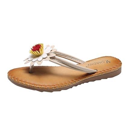5d825cfa0dcc SUKEQ Women Fashion Sunflower Flip Flops Comfort Soft Flat Slippers Summer  Beach Thong Sandals for Women