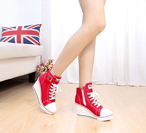 red Fashion Canvas Pump Women's High Heeled Shoes JiYe Sneaker E xwgz7nqga