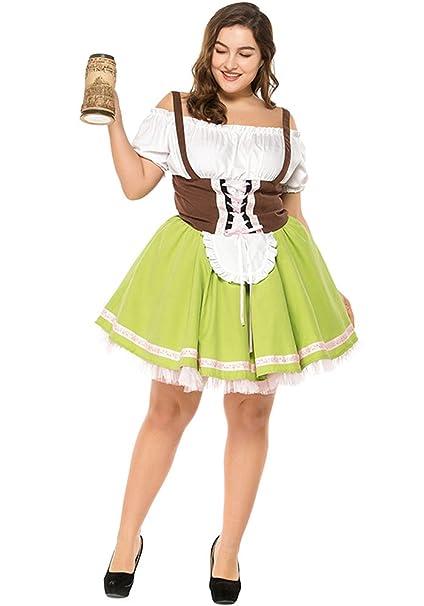 BOZEVON Vestido de Dirndl para Mujeres gordas, Falda de Dirndl, Traje Alemán de Oktoberfest