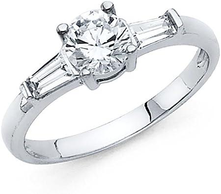 Womens 14k Yellow Gold CZ Baguette Three-Stone Wedding Engagement SIZE 6.5