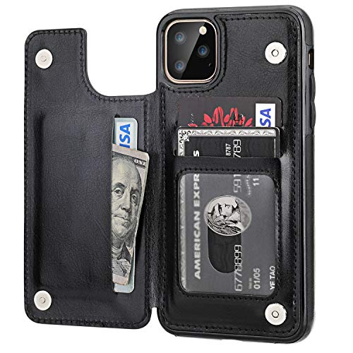 iPhone 11 Pro Max Wallet Case with Card Holder,OT ONETOP PU Leather Kickstand Card Slots Case,Double Magnetic Clasp and Durable Shockproof Cover for iPhone 11 Pro Max 6.5 Inch(Black)