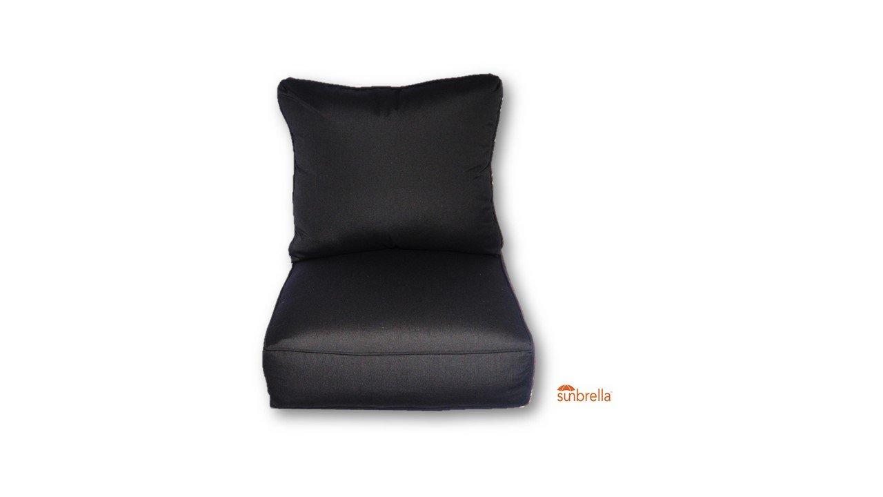 Resort Spa Home Decor Sunbrella Canvas Black w/Self Cording Cushion Set for Indoor/Outdoor Deep Seat Furniture Chair - Choose Size (25''w X 25''d)