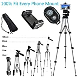 Alovexiong 110cm General Portable Rotatable Retractable Camera Tripod Stand+Remote Control +Smartphone Clip Holder Mount For iPhone 5 6 7 8 9 Plus X Galaxy S6 S7 S8 S9 LG HTC Google Phone Camera GoPro