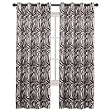 zebra decor for kitchen - H.VERSAILTEX Bedroom Blackout Curtains Panels - Window Treatment Thermal Insulated Solid Grommet Blackout for Living Room (Set of 2 Panels, 52 by 84 Inch, Zebra Brown)
