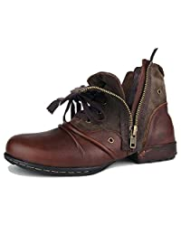 Leather Chukka Boots For Men Fashion Zipper-up Boots Casual Shoes By OTTO ZONE OZ-5008-8