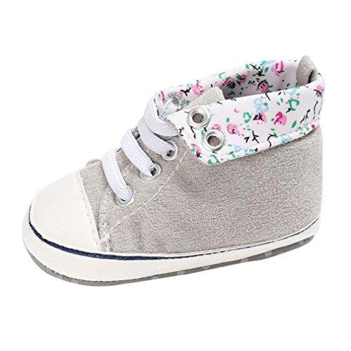 Babyschuhe Longra Baby Schuhe junge Mädchen newborn Krippe Soft Sole Schuh Sneakers Leinenschuhe Krippe Schuhe(0 ~ 18 Monate) Gray