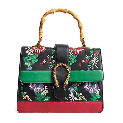 couleurs imprimé poignée Nouveau rétro en JUNBOSI sac de sac main bambou sac 5 sac Black messenger de femelle à à option bandoulière de HwndPqd6Z