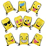 BeeGreen Emoji Party Supplies Favor Bags Drawstring Backpacks for Kids Teens Boys and Girls Birthday Goody Gift 10 Pack …