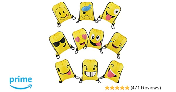 Amazon BeeGreen Emoji Party Supplies Favor Bags Drawstring Backpacks For Kids Teens Boys And Girls Birthday Goody Gift 10 Pack Toys Games